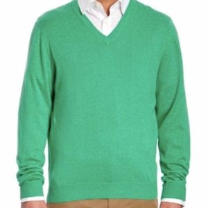 Brooks Brothers Supima Cotton green v-neck sweater